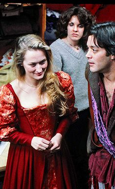 Behind the scenes of 'Taming of the Shrew' with Meryl Streep and Raul Julia, 1978.