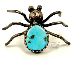 Navajo STERLING SILVER Sleeping Beauty Turquoise SPIDER~BUG Tie Tack Lapel Pin