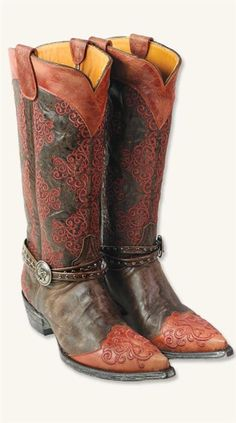 ANKLE BRACELET COWGIRL BOOTS #2521805 Price: $630.00  (I WILL JUST HAVE TO DREAM ABOUT THESE BEAUTIES!)  Giddy-up glam. Copper-hued threads meander prettily upon fine leather boots with elegant toe detail. Silver studded double bands are cinched by an ornate concho button.
