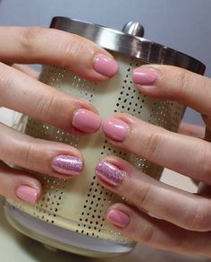 CND SHELLAC PINK PURSUIT AND GRAPEFRUIT SPARKLE WITH #LECENTE WATERFALL GLITTER