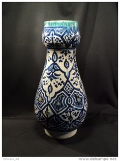 Grand Vase 46,5cm Maroc faïence Safi céramique début XXème Islamic Moroccan Pottery Orientaliste