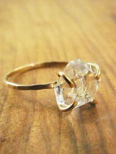 HERKIMER DIAMOND SOLITAIRE RING - 14K GOLD