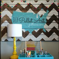 Pallet art- It's Just Laine chevron art