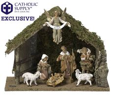 "OUR EXCLUSIVE! Fontanini 7 Piece Nativity Set with Stable  Catholic Supply Exclusive! You can only find it here! 7 piece Fontanini nativity set. Features seven 5"" Fontanini nativity figures and beautiful 10"" Italian stable. Makes the perfect gift! The figures are unbreakable, so they are perfect for new families or homes with pets. Children love to handle the figures. Features a removable Jesus from crib. Made in Italy. Gift Boxed. Fontanini Nativity from Italy Nativity Set Nativity Scene"
