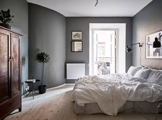Serene gray bedroom, bedroom wall, bedroom decor, home bedroom, master bedr Grey Bedroom Furniture Sets, Dark Gray Bedroom, Grey Bedroom Paint, Dark Grey Walls, Bedroom Colors, Grey Paint, Dark Furniture, Cozy Bedroom, Bedroom Decor
