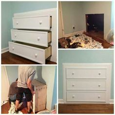 Install a dresser in the wasted space under the stairs.