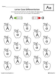 Letter Case Recognition Worksheet: Letter A Worksheet.This fun and coloring activity helps preschoolers and kindergarteners recognize the difference between the uppercase and lowercase letter A. Letter Worksheets For Preschool, Preschool Writing, Preschool Learning Activities, Preschool Letters, Alphabet Worksheets, Preschool Printables, Learning Letters, Preschool Lessons, Alphabet Activities