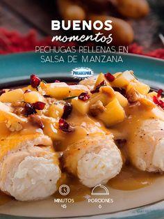 Pechugas rellenas en salsa de manzana - Troubled Tutorial and Ideas Cooking Recipes, Healthy Recipes, Healthy Foods, Le Chef, Food Humor, Mexican Food Recipes, Love Food, Holiday Recipes, Food To Make