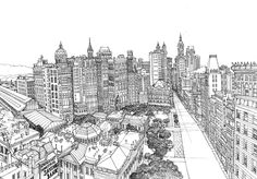City Hall in New York City by Abigail Daker - line drawing in pen and ink  http://www.abigaildaker.com/18158/blog #art #drawing