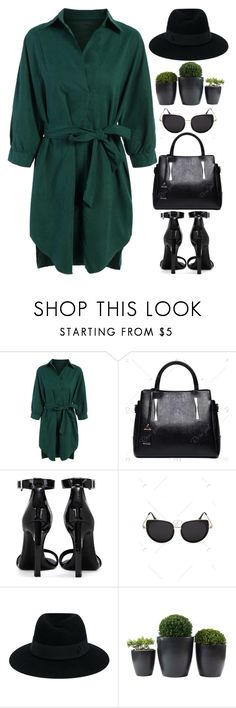 """Green chic"" by oliverab ❤ liked on Polyvore featuring Yves Saint Laurent, Maison Michel, GREEN, shirtdress and rosegal"
