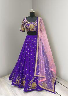 Purple Color Lehenga Choli with Pink Dupatta Half Saree Lehenga, Pink Lehenga, Anarkali Dress, Lehenga Designs Latest, Half Saree Designs, Indian Wedding Wear, Indian Wear, Indian Dresses, Indian Outfits