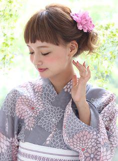 Yukata hair arrangement. 甘目でかわいい浴衣アレンジ