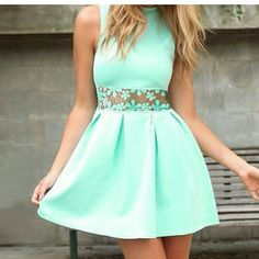 Green lace hollow out dress