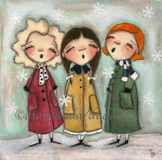 Diane Dudadaze Christmas Paintings, Christmas Art, Watercolor Illustration, Art Girl, Bella, Angeles, Mixed Media Art, Mandala Canvas, Quirky Art