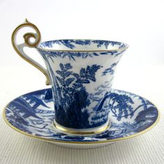 ROYAL CROWN DERBY 'Blue Mikado' circa 1916, demitasse cup and saucer