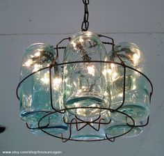 Vintage Chandelier, Antique Mason Jars Chandelier, 6 Blue 1-QUART Jars and Wire Basket