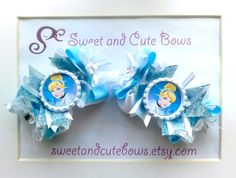 A set of two Cinderella Hair Bows attached to by SweetandCuteBows, $14.50