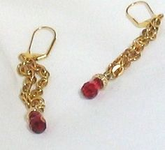 Dangle Earrings with Ruby Briolettes by GirlyPossessions on Etsy