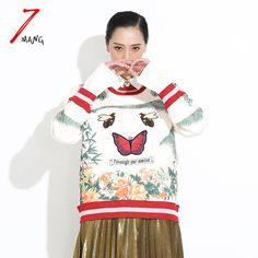 2017 autumn women fashion brand butterfly embroidery flower printing sweatshirt o neck luxury pullover