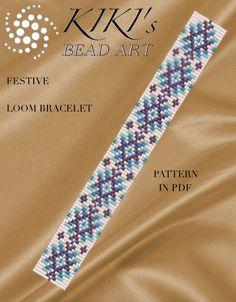 Bead loom pattern Strip of stars LOOM bracelet PDF pattern Beading Patterns Free, Seed Bead Patterns, Peyote Patterns, Loom Bracelet Patterns, Bead Loom Bracelets, Accesorios Casual, Patchwork Patterns, Tear, Jewelry Making Tutorials