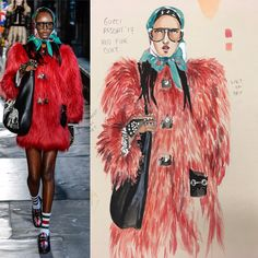 Painting & Drawing, Artworks, Fur Coat, Drawings, Illustration, Jackets, Collection, Fashion, Down Jackets