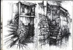 Tai O » Ian Murphy Sketchbooks Building Drawing, Building Art, Architecture Drawings, City Architecture, Architecture Artists, Ink Pen Art, Art Inspiration Drawing, Drawing Ideas, Observational Drawing