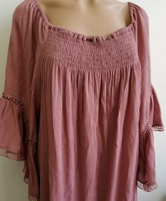 3158754ab8b Women s Hippie 2X Plus Size Dress Dusty Rose Casual Bell Sleeves Boho  Peasant  JustFound
