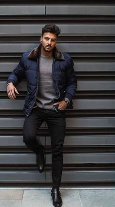 39 Charming Fall Outfit for Men - Mens fashion trends - Men Mens Fall Outfits, Stylish Mens Outfits, Woman Outfits, Looks Cool, Men Looks, Black And White Outfit, Black Outfit Men, Black Outfits, Mode Man
