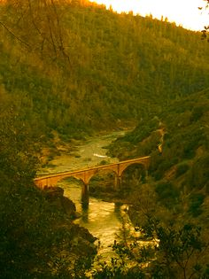 Auburn, CA. Overlooking the American River and No Hands Bridge, which when built in 1910 was the longest concrete railroad bridge in the the world.