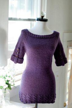 Hand Knit Sweater in Sugar Plum