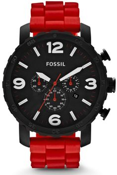 Fossil Men's JR1422 Nate Chronograph Red Silicone Watch < $90.00 > Fossil Watch Men