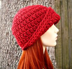 Hand Crocheted Hat Womens Hat 1920s Flapper Hat - The Garbo Cloche Hat in Poinsettia Red Fall Fashion