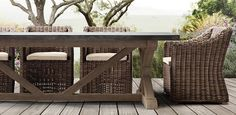 Loggia dining - RH Belgian Trestle Concrete & Teak   Restoration Hardware