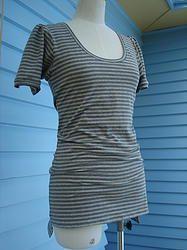 Cotton Spandex knit top - Grey Stripe
