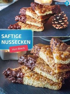 Nussecken: Recipe from the tin - as from the grandmother - Kochrezepte - Kuchen Easy Cookie Recipes, Snack Recipes, Healthy Travel Snacks, Protein Snacks, Appetizers For Party, Yummy Snacks, Baking Ingredients, Chocolate, Food And Drink