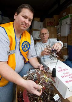 The South Elgin Lions Club collects eyeglasses to distribute to those in need in South America.