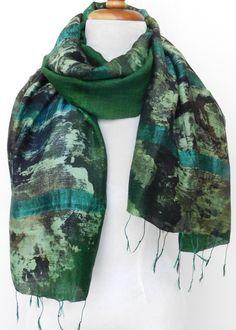Thai Cotton Silk Art - Green Collage - F16 - ETA Jun 20