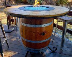Wine Barrel Dog Bed, Wine Barrel Fire Pit, Wine Barrel Table, Wine Barrel Furniture, Wine Table, Portable Island, Oak Bar Stools, American Flag Wood, Walnut Table