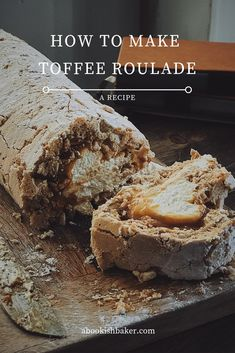 How to make a toffee roulade — A Bookish Baker - how to make a toffee roulade – a simple recipe with the wow factor - Pavlova Meringue, Mini Meringue, Meringue Desserts, Just Desserts, Delicious Desserts, Yummy Food, Meringue Roulade, Pavlova Recipe, Meringue Cookies