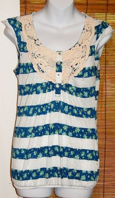 Womens Self Esteem Blue and White Striped Knit Top Crochet Lace Polyester Size M #SelfEsteem #KnitTop #Casual