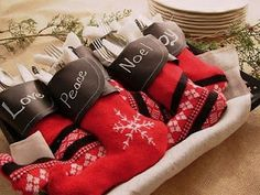 mini stockings with chalkboard fabric cuffs