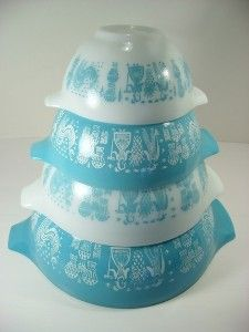 Vintage Pyrex Amish Butterprint Turquoise Nesting Mixing Bowls
