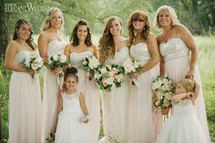 Pink sparkly bridesmaids dresses, bridesmaid dresses, bridesmaids bouquets, wedding bouquet WHIMSICAL SUMMER WEDDING IN ONTARIO www.elegantwedding.ca