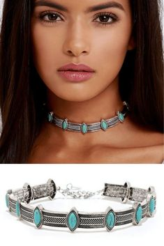 Turquoise Choker Boho Silver Necklace : Pretty choker necklace featuring vintage silver accents with shimmering embellishments throughout. Perfect choker for any womens jewelry collections.