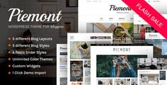 Piemont – Perfect theme for Personal WordPress Blogging Piemont theme is one of the fastest, clean and aesthetic responsive WordPress Blogging themes with WooCommerce support on Themeforest. Th...