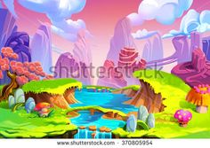 Creative Illustration and Innovative Art: Color in Nature! The Mountain, River and Green Grass. Realistic Fantastic Cartoon Style Artwork Scene, Wallpaper, Story Background, Card Design - stock photo
