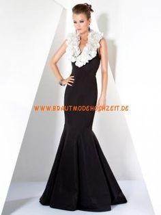 Elegantes schwarzes Abendkleid aus Satin Bodenlang im Meerjungfraustil