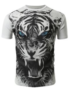 SMITHJAY Mens Hipster Hip-Hop Growling Black & White Tiger Print Mesh T-Shirt #smithjay
