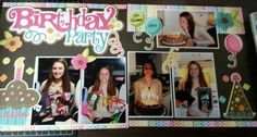 Birthday Party scrapbook layout   Out on a limb scrapbooking