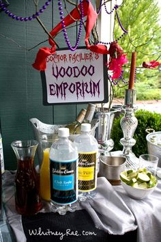 Facilier's VooDoo Emporium (adult beverage station) what a great Halloween party idea! Voodoo Party, Voodoo Halloween, Vintage Halloween, Halloween Party Themes, Holidays Halloween, Halloween Decorations, Dr Facilier, Swamp Party, New Orleans Party